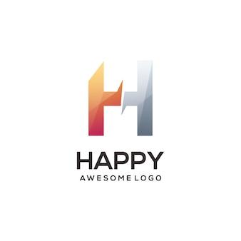 Ilustración colorida degradado del logotipo de la letra h