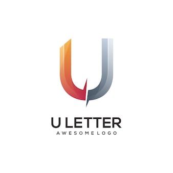 Ilustración colorida degradado del logotipo de la letra u