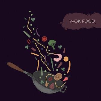 Ilustración colorida detallada de wok y mariscos, verduras, setas, fideos, especias tiradas.