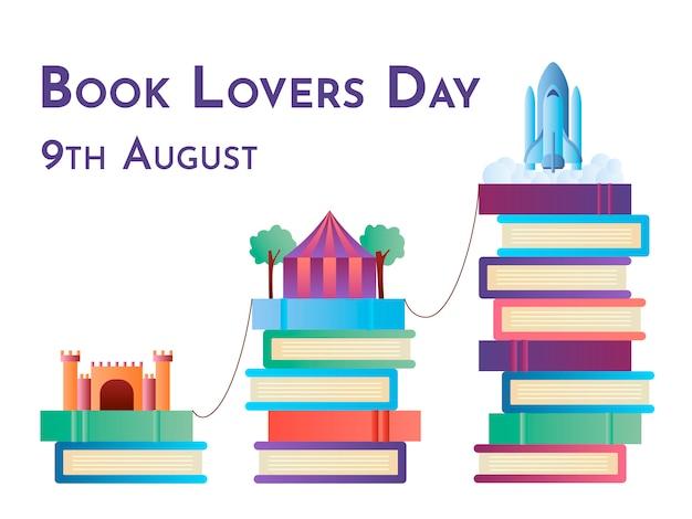 Ilustración colorida del día de los amantes del libro con el concepto de mundos imaginarios