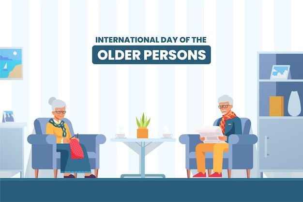 Ilustración colorida del día internacional de las personas mayores.