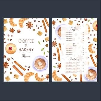 Ilustración colorida del diseño del menú del café y de la panadería