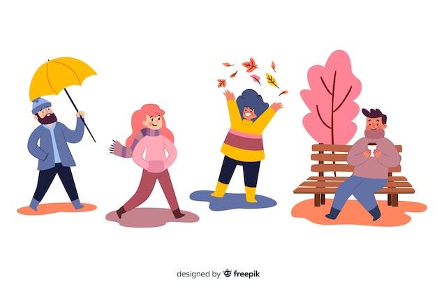 Ilustración colorida con diseño de otoño