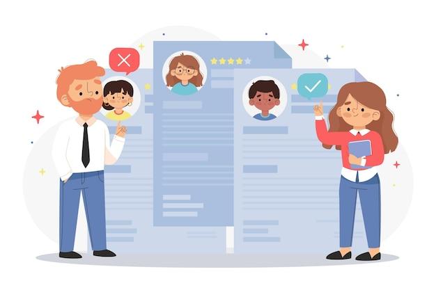 Ilustración colorida de la elección del concepto de trabajador