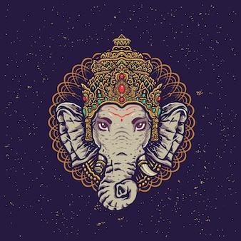 Ilustración colorida del estilo de la mandala de ganesha