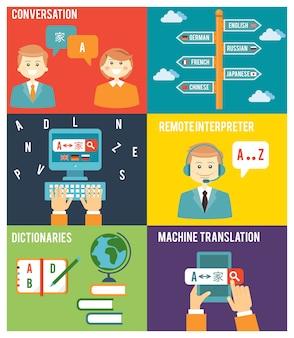 Ilustración colorida de estilo plano del concepto de aprendizaje de idiomas extranjeros
