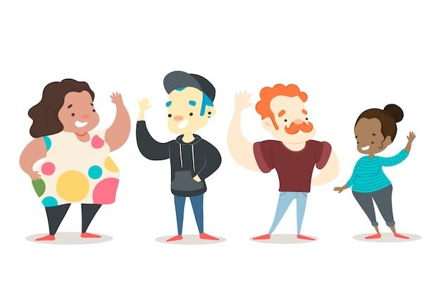 Ilustración colorida con gente saludando