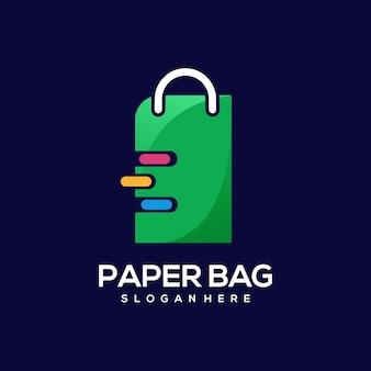 Ilustración colorida del gradiente del logotipo de la bolsa de papel