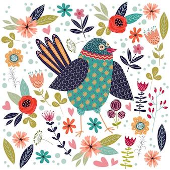 Ilustración colorida con hermoso pájaro popular abstracto y flores.