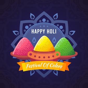 Ilustración colorida de holi gulal