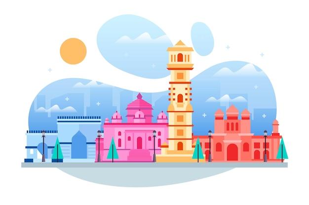 Ilustración colorida del horizonte de ahmedabad