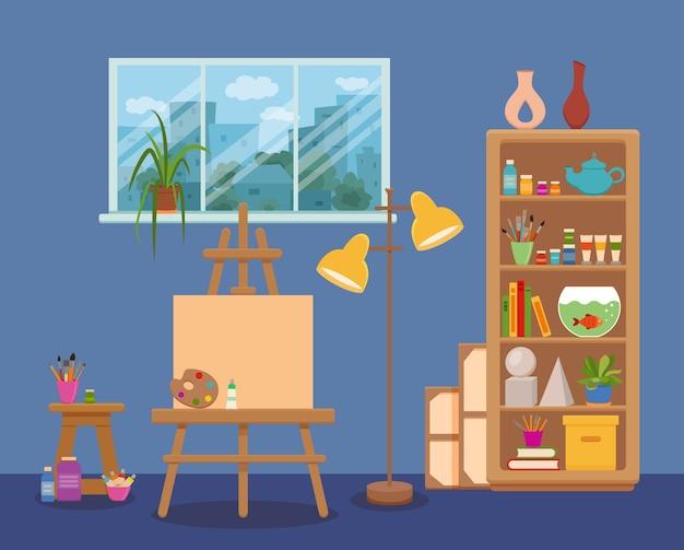 Ilustración colorida interior del estudio de arte. pintor artista sala lienzo, pinturas de caballete, paleta