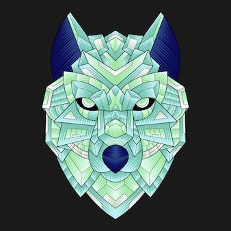 Ilustración colorida del lobo del ornamento