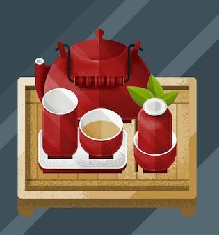 Ilustración colorida de la mesa de té chino con tetera roja de hoja verde y pares