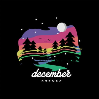 Ilustración colorida moderna del valle del vector de invierno con pino