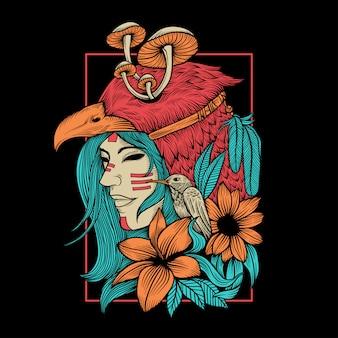 Ilustración colorida de mujeres tribales