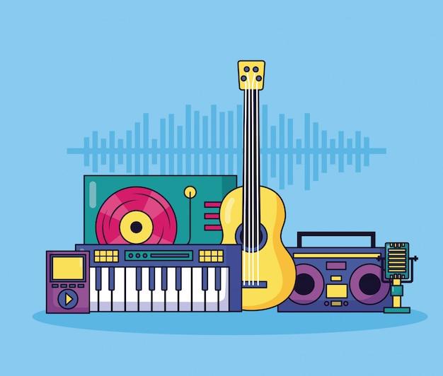 Ilustración colorida de música