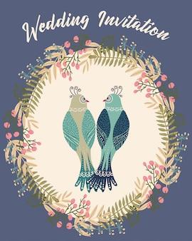 Ilustración colorida con pájaro par dentro del marco de flores