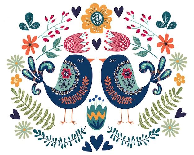 Ilustración colorida con pájaro par, flores y elementos de diseño popular