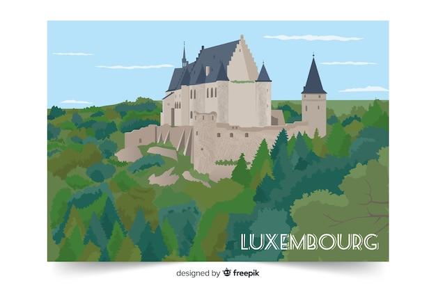 Ilustración colorida con el palacio de luxemburgo