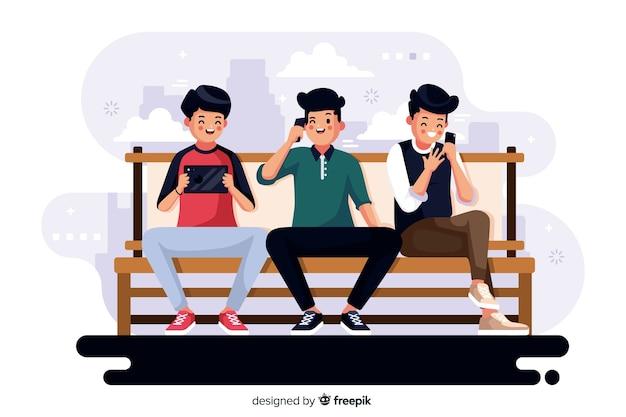 Ilustración colorida de personas mirando sus teléfonos