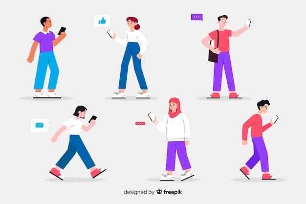 Ilustración colorida con personas con teléfonos inteligentes