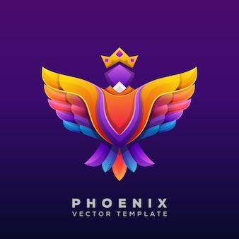 Ilustración colorida de phoenix, vector logo de phoenix