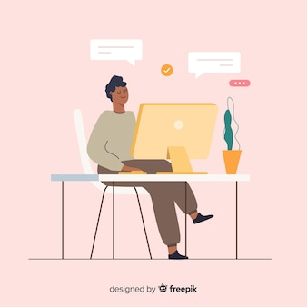 Ilustración colorida del programador haciendo su trabajo