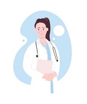 Ilustración colorida de realista amigable doctora. sonrisa hermosa morena en uniforme médico femenino con estetoscopio. positiva joven enfermera linda con portapapeles en las manos.