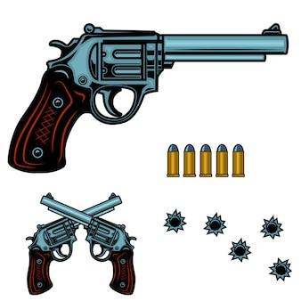 Ilustración colorida de revólver. pistola de balas y agujeros. elemento para cartel, emblema, signo, pancarta. imagen