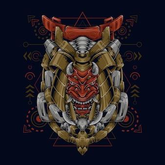 Ilustración colorida robótica del samurai de la cabeza del diablo