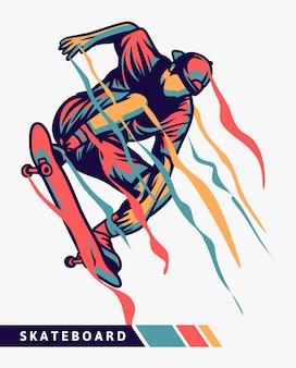Ilustración colorida de skater con efecto de movimiento
