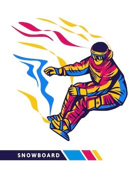 Ilustración colorida de snowboard con movimiento de snowboarder