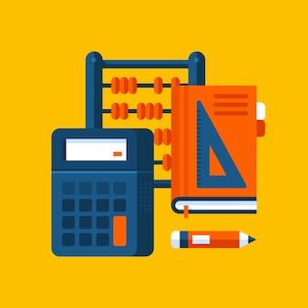 Ilustración colorida sobre las matemáticas en estilo plano moderno