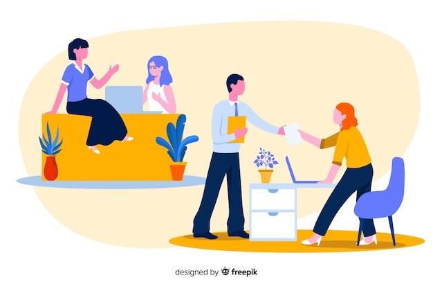 Ilustración colorida de trabajadores de oficina sentados en escritorios