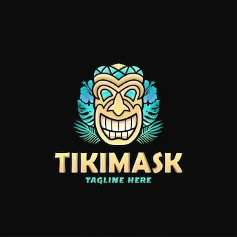 Ilustración colorida del vector del diseño del logotipo de la máscara de tiki
