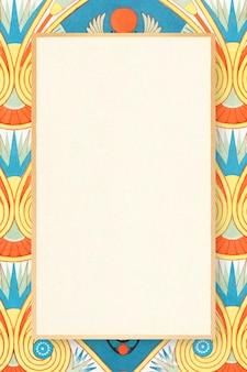 Ilustración colorida de vector de marco estampado egipcio decorativo