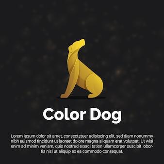 Ilustración de colorido logotipo de perro de oro, icono, plantilla de diseño de etiqueta