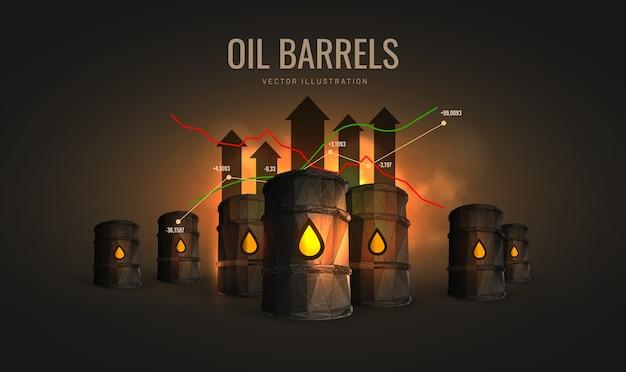 Ilustración de comercio de petróleo crudo aislada: concepto de inversión en petróleo o acciones de petróleo en el gráfico, estilo de estructura metálica poligonal