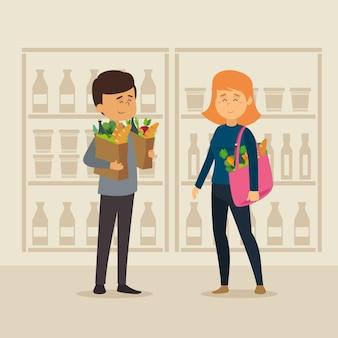 Ilustración de comestibles de compras de diseño plano