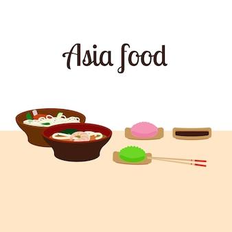 Ilustración de comida de asia
