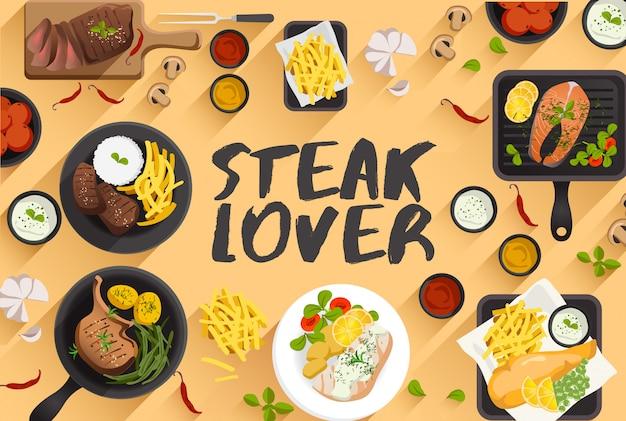 Ilustración de comida de carne en la ilustración de vector de vista superior