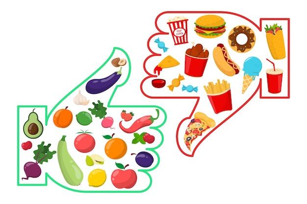 Ilustración de comida chatarra vs saludable