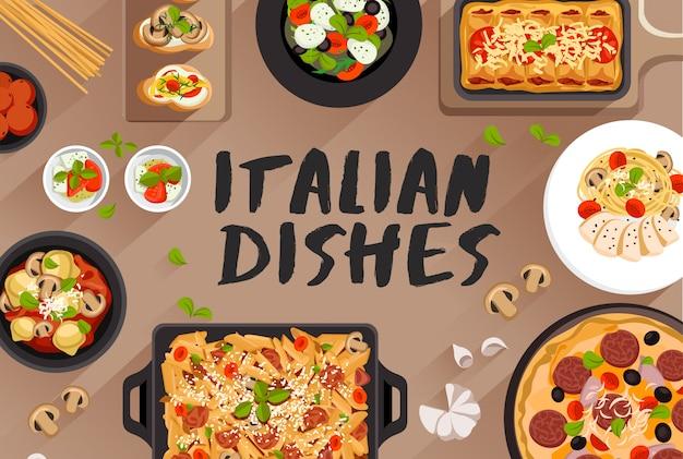 Ilustración de comida de comida italiana en la ilustración de vector de vista superior