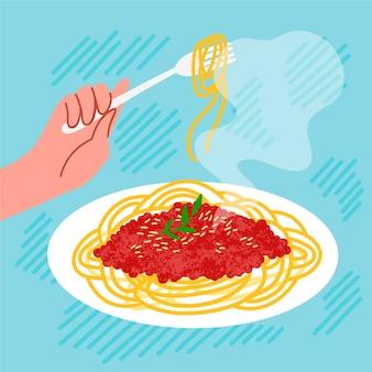 Ilustración de comida de comodidad de espagueti