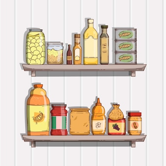 Ilustración de comida de despensa plana