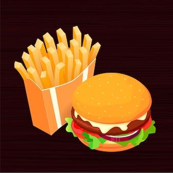 Ilustración de comida isométrica: hamburguesa, papas fritas y cola. concepto de comida rápida. aperitivo sabroso. plantilla de póster