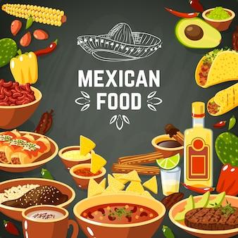 Ilustración de comida mexicana