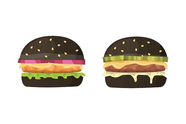 Ilustración de comida rápida de dibujos animados de hamburguesa
