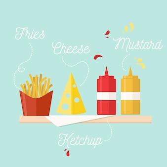 Ilustración de comida rápida en fiesta